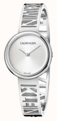 Calvin Klein Mania   pulseira de aço inoxidável   mostrador prateado   tamanho M KBK2M116