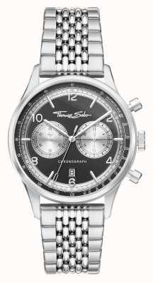 Thomas Sabo | rebelde no coração | homens | pulseira de aço inoxidável | mostrador preto | WA0375-201-203-40