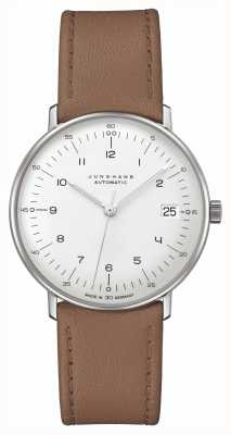 Junghans Max bill | kleine | automático | pulseira de couro marrom 27/4107.02