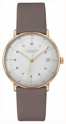 Junghans Max bill | kleine | automático | pulseira de couro cinza 27/7108.02