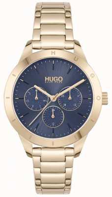 HUGO #friend | pulseira de aço banhado a ouro | mostrador azul 1540092