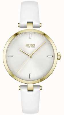 BOSS | majestade | mulheres | pulseira de couro branco | mostrador branco | 1502588