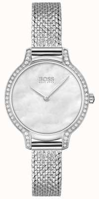 BOSS | gala | mulheres | pulseira em malha de aço inoxidável | mostrador prateado | 1502558