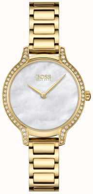 BOSS | gala | mulheres | pulseira folheada a ouro | madrepérola branca dial | 1502557