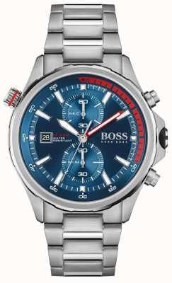 BOSS | globetrotter | homens | pulseira de aço inoxidável | mostrador azul | 1513823