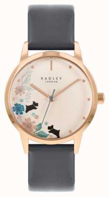 Radley Pulseira de couro preto feminino | mostrador floral creme RY21262A