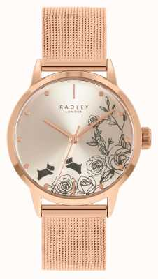 Radley Pulseira feminina em malha de ouro rosa | mostrador floral prateado RY4582A
