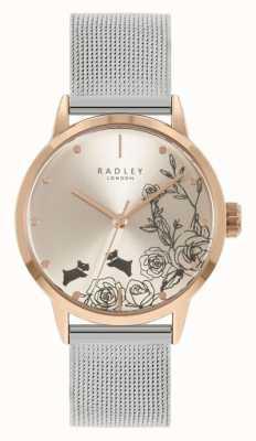 Radley Pulseira feminina em malha de prata de aço inoxidável | mostrador floral prateado RY4581A
