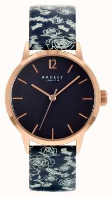 Radley Pulseira de couro preto feminino | mostrador preto RY21250A