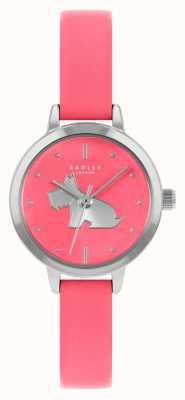 Radley Pulseira de couro rosa brilhante das mulheres | mostrador rosa RY21253A
