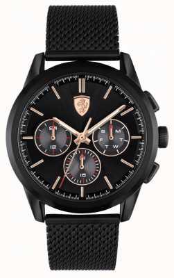 Scuderia Ferrari Grande tour | pulseira de malha preta para homem | mostrador preto 0830807