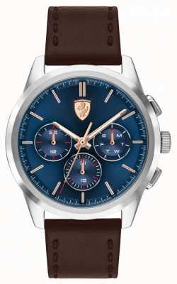 Scuderia Ferrari Grande tour | pulseira de couro marrom dos homens | mostrador azul 0830806