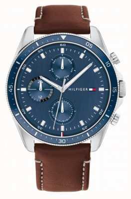 Tommy Hilfiger Parker | pulseira de couro marrom dos homens | mostrador azul 1791837
