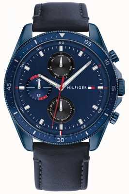 Tommy Hilfiger Parker | pulseira de couro azul para homem | mostrador azul 1791839
