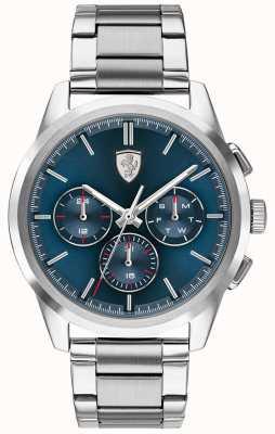 Scuderia Ferrari | grande turnê | mostrador azul | pulseira de aço inoxidável | 0830804