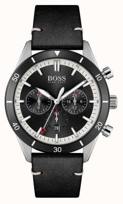 BOSS | homens | santiago | mostrador preto | pulseira de couro preta | 1513864