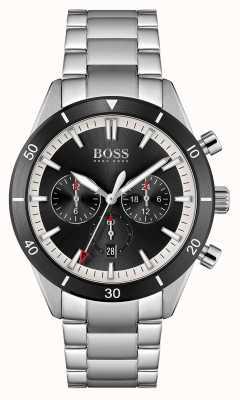 BOSS | homens | santiago | mostrador preto | pulseira de aço inoxidável | 1513862