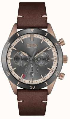 BOSS | homens | santiago | mostrador cinza | pulseira de couro marrom | 1513861