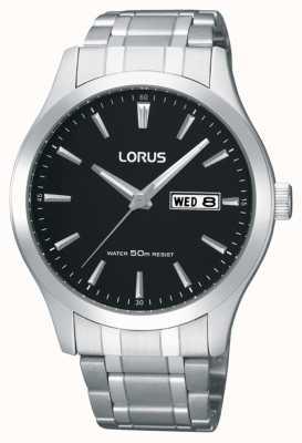 Lorus Homens | mostrador preto | pulseira de aço inoxidável RXN23DX9