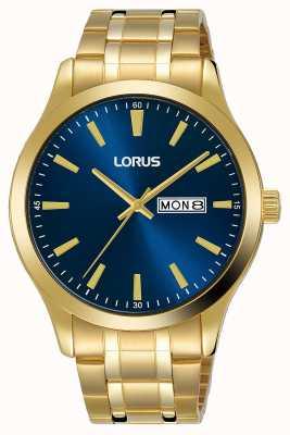 Lorus Homens | mostrador azul | pulseira de aço banhado a ouro RH340AX9