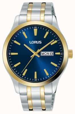 Lorus Homens | mostrador azul | pulseira de aço inoxidável de dois tons RH342AX9
