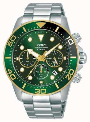 Lorus Homens | cronógrafo | mostrador verde | pulseira de aço inoxidável RT340JX9