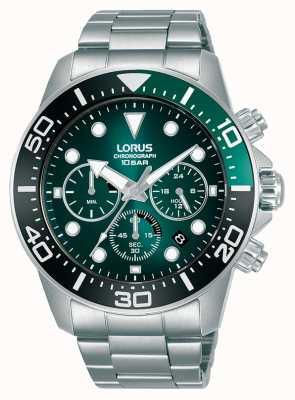 Lorus Cronógrafo para homem   mostrador verde   pulseira de aço inoxidável RT341JX9