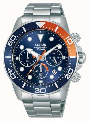 Lorus Homens   cronógrafo   mostrador azul   pulseira de aço inoxidável RT345JX9