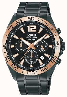 Lorus Homens | cronógrafo | mostrador preto | pulseira de aço ip preto RT336JX9