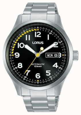Lorus Homens | automático | mostrador preto | pulseira de aço inoxidável RL457AX9