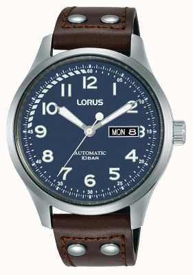 Lorus Homens | automático | mostrador azul | pulseira de couro marrom RL463AX9