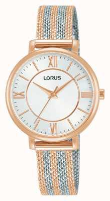 Lorus Mulheres   mostrador branco   pulseira de malha de dois tons RG216TX9