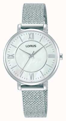 Lorus Mulheres   mostrador branco   pulseira de malha de aço inoxidável RG221TX9
