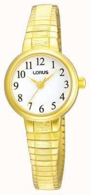Lorus Mulheres | mostrador branco | pulseira expansível de ouro em aço inoxidável RG236NX9