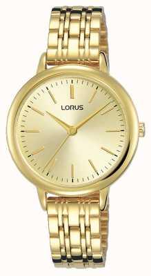 Lorus Mulheres | mostrador de raios de sol em ouro | pulseira de aço folheado a ouro pvd RG204QX9