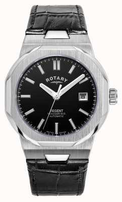Rotary Homens | regente | automático | mostrador preto | pulseira de couro preta GS05410/04