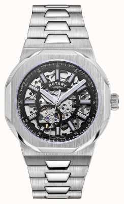 Rotary Homens | regente | automático | mostrador esqueleto preto | pulseira de aço inoxidável GB05415/04