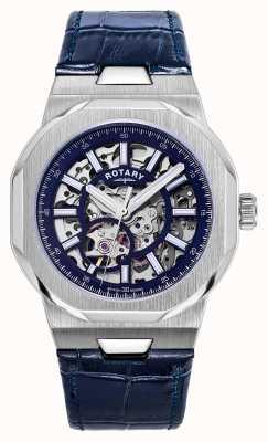 Rotary Homens | regente | automático | mostrador esqueleto azul | pulseira de couro azul GS05415/05