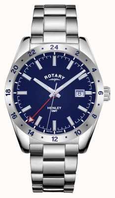 Rotary Homens | Henley | gmt | mostrador azul | pulseira de aço inoxidável GB05176/05