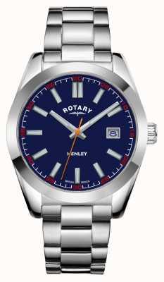 Rotary Homens | Henley | mostrador azul | pulseira de aço inoxidável GB05180/05