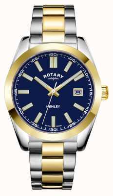 Rotary Homens | Henley | mostrador azul | pulseira de aço inoxidável de dois tons GB05181/05