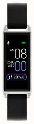 Reflex Active Relógio inteligente da série 2   tela de toque colorida   pulseira de couro preta RA02-2007