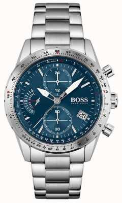 BOSS   edição piloto   homens   pulseira de aço inoxidável   mostrador azul   1513850