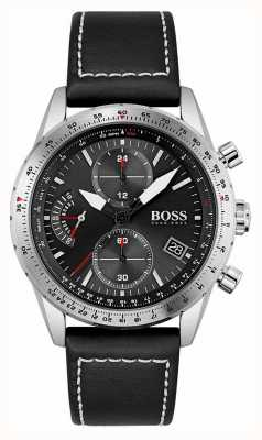 BOSS | edição piloto | homens | pulseira de couro preta | mostrador preto | 1513853