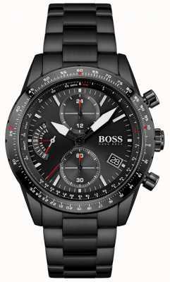 BOSS | homens | edição piloto | pulseira preta | mostrador cronógrafo preto | 1513854
