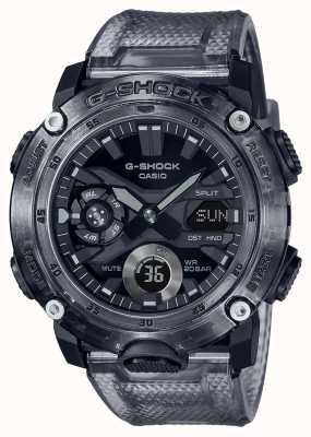 Casio G-shock | esqueleto série cinza | pulseira de plástico transparente cinza | mostrador cinza GA-2000SKE-8AER