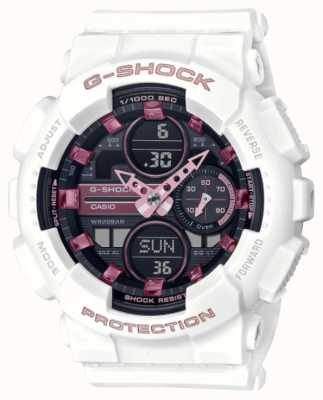 Casio G-shock | esportes unissex | pulseira de resina branca | mostrador preto GMA-S140M-7AER