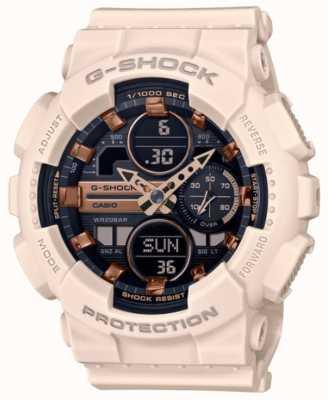 Casio G-shock | esportes unissex | pulseira de resina rosa pálido | mostrador preto GMA-S140M-4AER