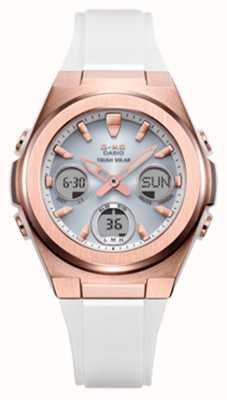 Casio G-shock | msg -rose-gold ip | pulseira de resina branca MSG-S600G-7AER