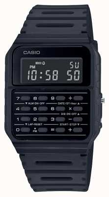Casio Relógio retro calculadora | pulseira de resina preta | mostrador preto CA-53WF-1BEF
